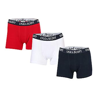 Boy's Lyle And Scott Junior Waterfall 3 Pack Boxer Shorts in Blue