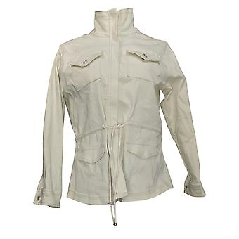 DG2 di Diane Gilman Donna Stretch Denim Zip-Front Jacket Ivory 739712