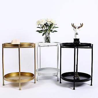 Double layer Iron Art Small Coffee Table Corner Round Table Living Room Sofa Side Table Bedside Simple Small Table