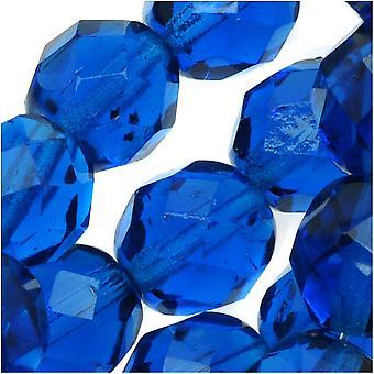 Czech Fire Polished Glass Round Beads 8mm Capri Blue (25)