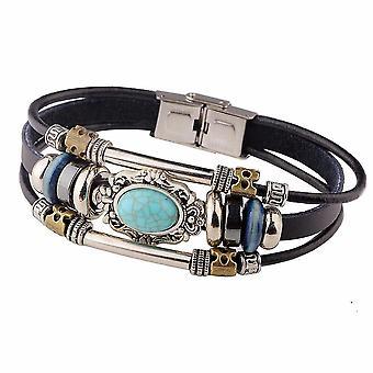 Vintage Multilayer Bracelets Blue Oval Irregular Geometric Leather Bracelet