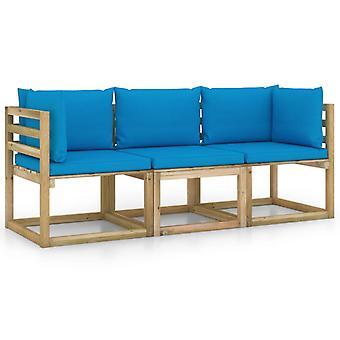 vidaXL 3-personers havesofa med lyseblå pude