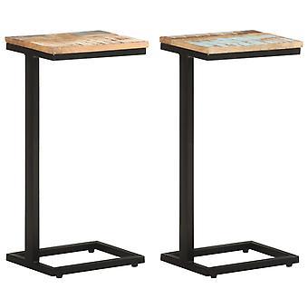 vidaXL tabelas laterais 2 pcs. 31.5x24.5x64.5 cm madeira recuperada
