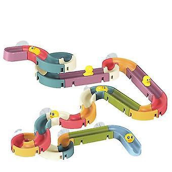 Kids Bath Toys DIY Slide Indoor Waterfall  Ducks Car Slot Shower Play Water Games Toy Set Bath Toy