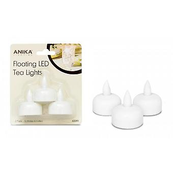 Anika Battery Operated LED Flickering Tealight Flameless Candles, Pack of 3