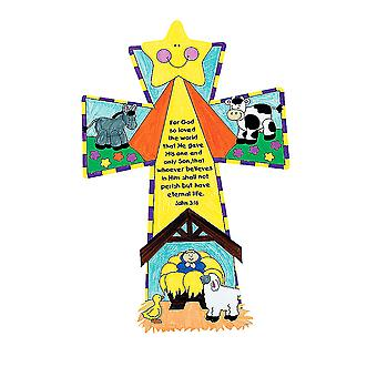 LAST FEW - 12 Large Colour In Christian Christmas Nativity Cross Crafts