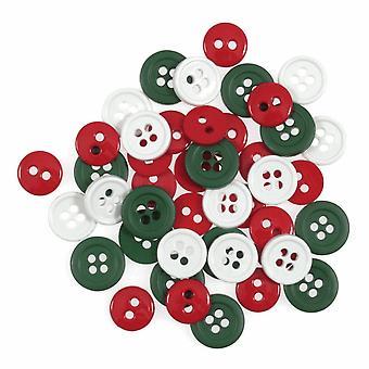 LAST FEW - 125 Mini Plastic Button Fournituren Ambachtelijke Versieringen - Christmas Mix
