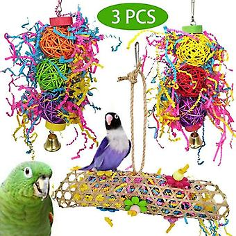 3 Pcs Parrot Bird Chew Cage Bite Haging Strip Woven Gass Foraging Cockatiel Toys