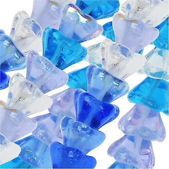 Czech Glass Beads, Flower 6x8mm, 50 Pieces, Carribean Blue Mix