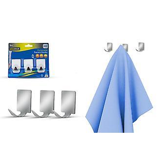 PMS-paket med 3 avtagbara självhäftande silver fyrkantiga krokar