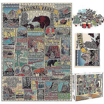 Skladačky 1000 kusov dekompresie skladačky náučné hádanky hračky národný park podpísať skladačky darček #4776