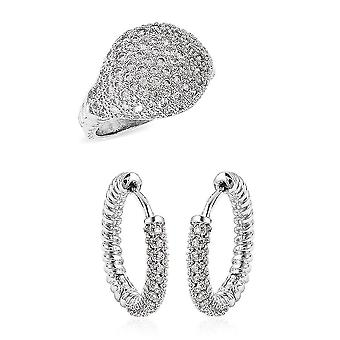 TJC Dome, Hoop Jewellery Set for Women N White Cubic Zirconia 0.02ct