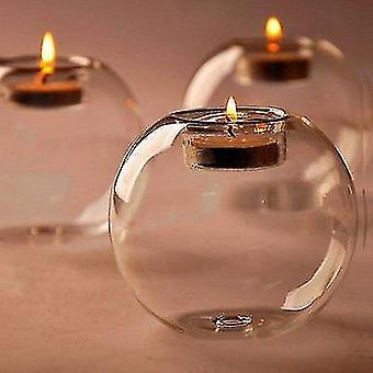 Skandinaavinen tyyli pyöreä ontto lasi kynttilä tee valo pidike (8 Cm)