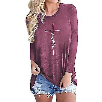 Kvinner Tro Print Langermet T-skjorte