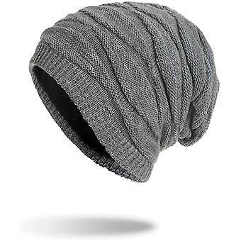 Lange Lässige warme Mütze Mütze Unisex Mütze Graue Mütze für Frauen und Männer Winter warme Strickmütze