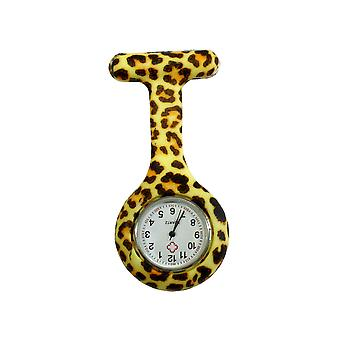Boolavard® TM Nurses Fashion Coloured Patterned Silicon Rubber Fob Watches - Leopard