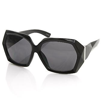 Designer Inspired Womens Fashion Bold Faceted Detail Oversized Sunglasses