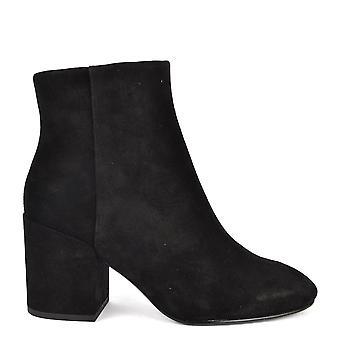 الرماد عدن أحذية جلدية سوداء الكاحل التمهيد