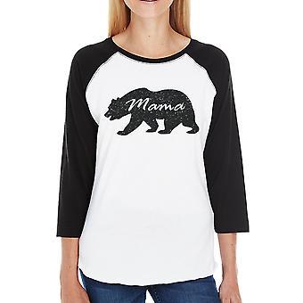 Mama Bear Womens 3/4 Black Sleeve Raglan Shirt Gift For New Moms