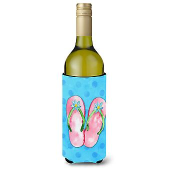 Pink Flip Flops Blue Polkadot Wine Bottle Beverge Insulator Hugger