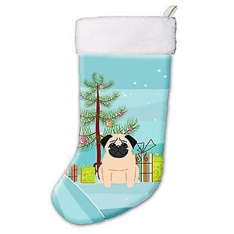 Carolines Treasures  BB4133CS Merry Christmas Tree Pug Fawn Christmas Stocking