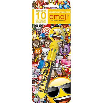 Emoji Novelty Multifunctional Pen With 10 Different Colour Tips Eraser Clips