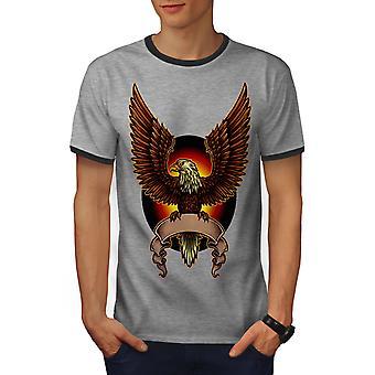 Eagle Moon Night Fashion Men Heather Grey / Heather Dark GreyRinger T-shirt | Wellcoda