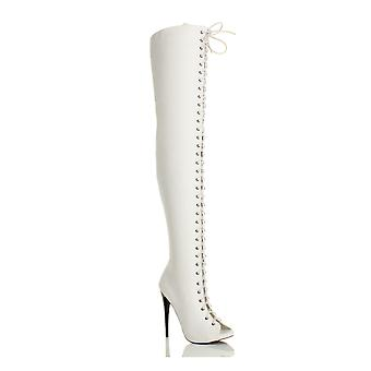 Ajvani womens high heel stiletto lace up zip club over the knee thigh boots