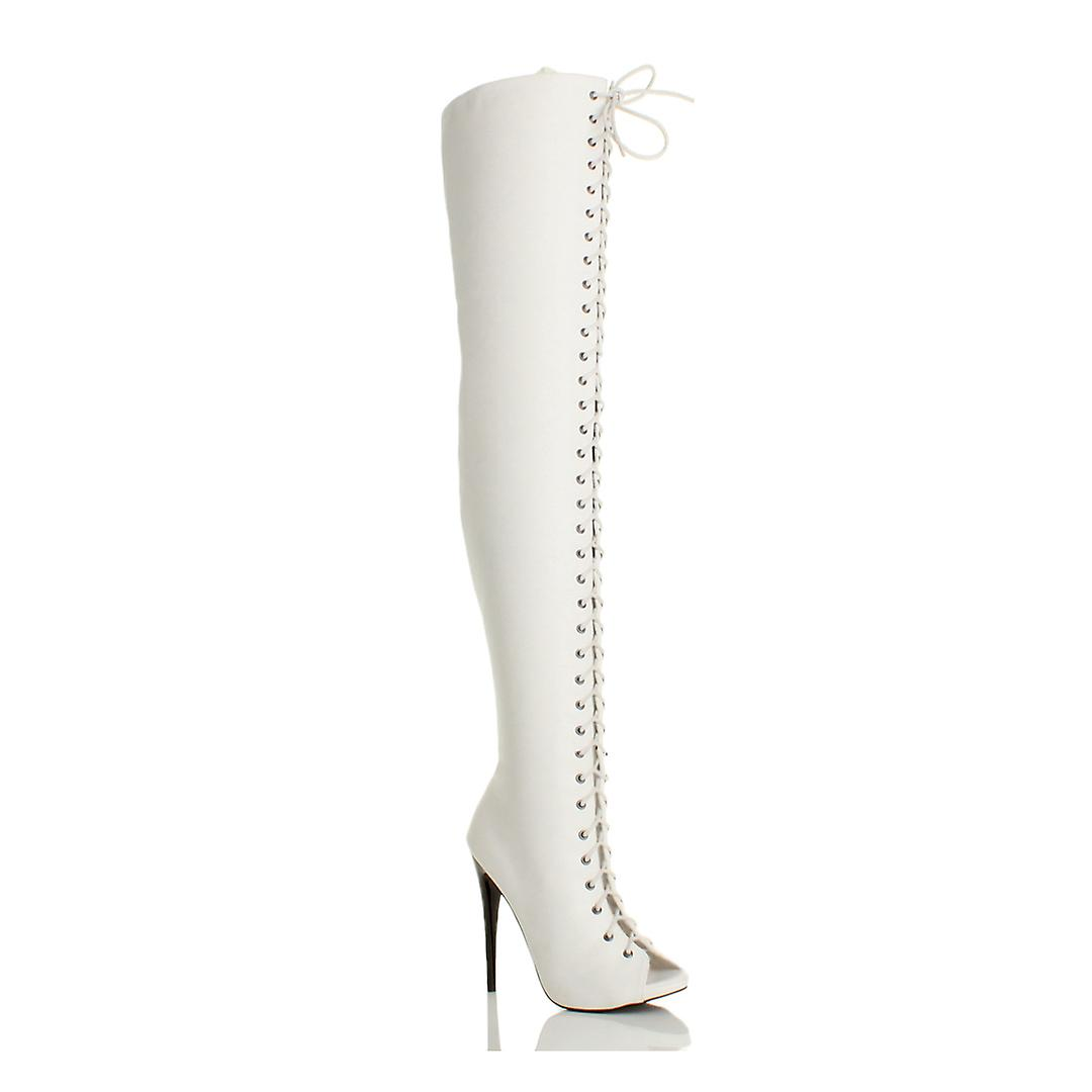 Ajvani damskie wysoki obcas stiletto koronki zip klub nad kolana uda buty BVKea