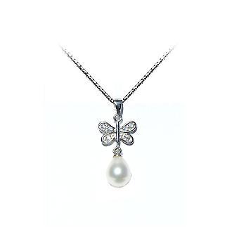 Hänge kvinnan Butterfly kultur av sötvatten pärla och Silver 925/1000