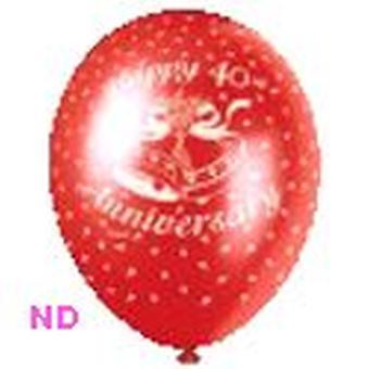 """Ballonnen 'Gelukkige 40e verjaardag' rode 9"""" Latex (10)"""
