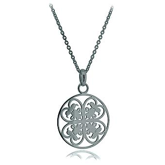 Orphelia Silver 925 Chain With Pendant Small Circle Black Rhodiumplated  ZH-6036/3