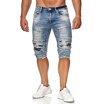 Mäns Bermuda Shorts Stretch Jeans Biker Pants används förstört Denim capribyxor
