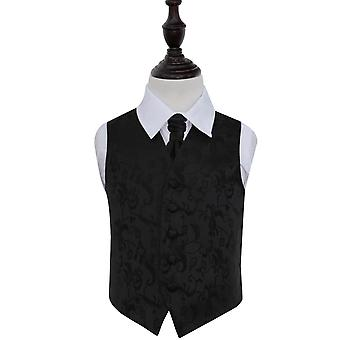 Musta Kukka Häät Liivi && & Cravat Set pojille