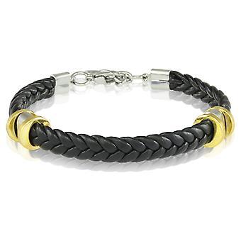 Schipper Armband leder armband 21.5 cm zwart 7238 gevlochten