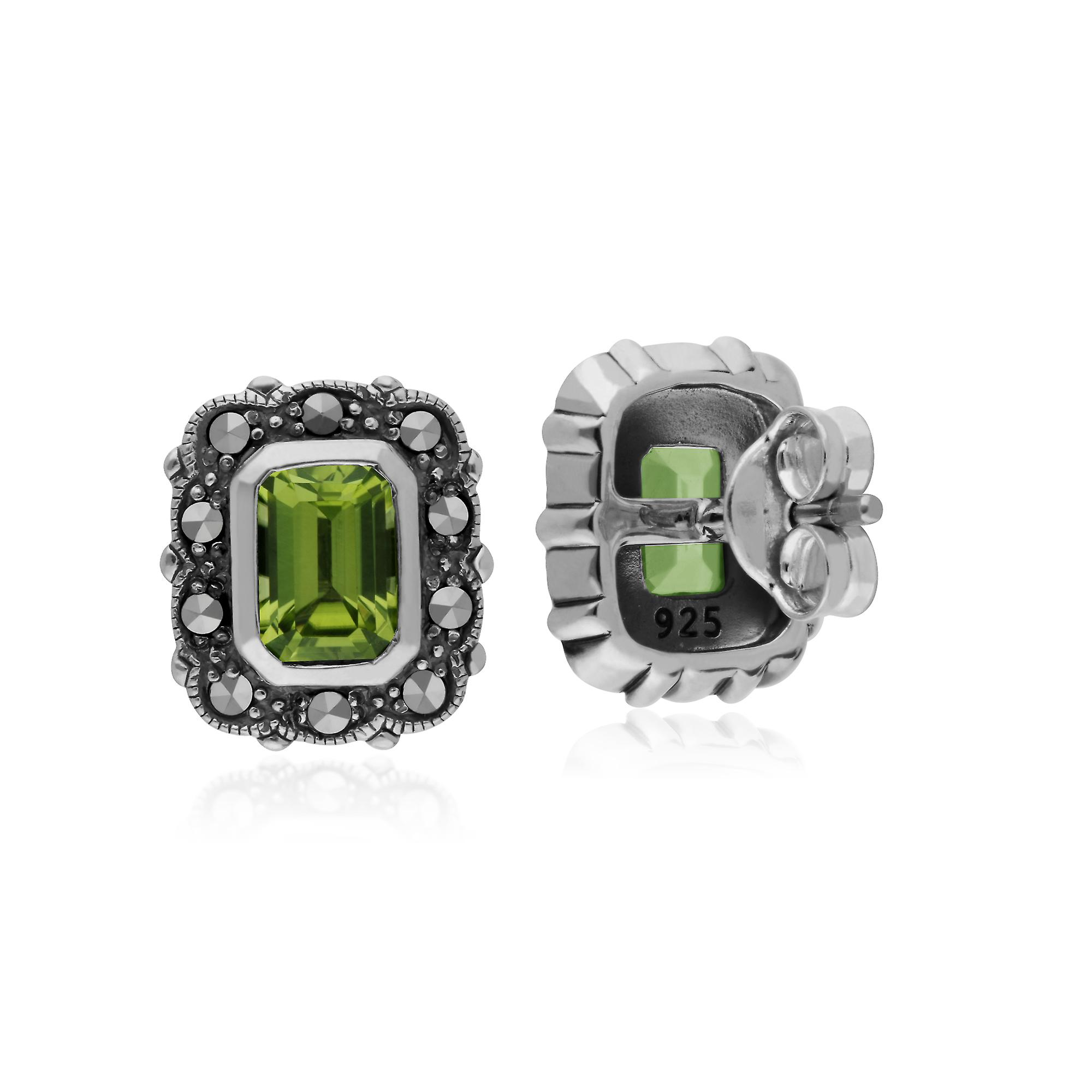 Gemondo Sterling Silver Peridot & Marcasite Octagon Art Nouveau Stud Earrings