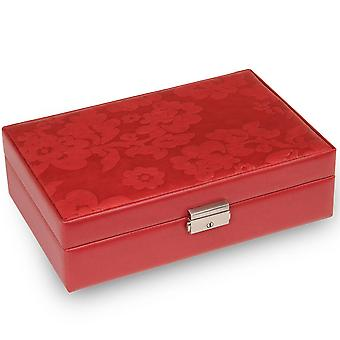 Jewelry box jewelry box red Sacher leather suede official mirror lock
