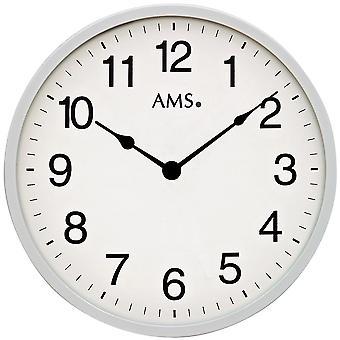 AMS 9493 væg ur kvarts analog sølv rund sletten meget flad