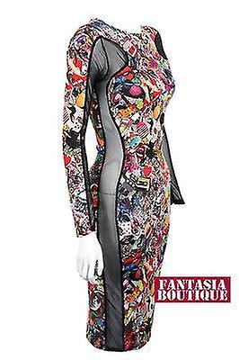 Ladies Funky Print Contrast Side Mesh Slimming Effect Womens Bodycon Dress