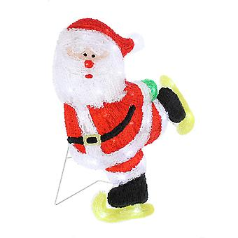 Festive Productions Acrylic Christmas Lit Skating Santa LED Lights Outdoor Indoor Decoration