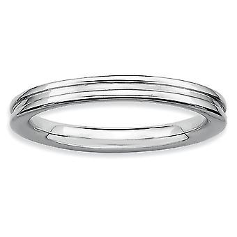 925 Sterling Silber poliert gemustert stapelbare Ausdrücke Rhodium grooved Ring Schmuck Geschenke für Frauen - Ring Größe: 5