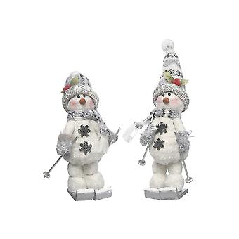 Festive Productions 30cm Grey Skiing Snowman Christmas Xmas Decoration