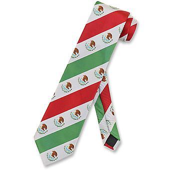 Meksikon lippu miesten kaulan Tie valkoinen vihreä punainen raidallinen solmio