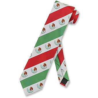 Mexican Flag Men's Neck Tie White Green Red Stripes NeckTie