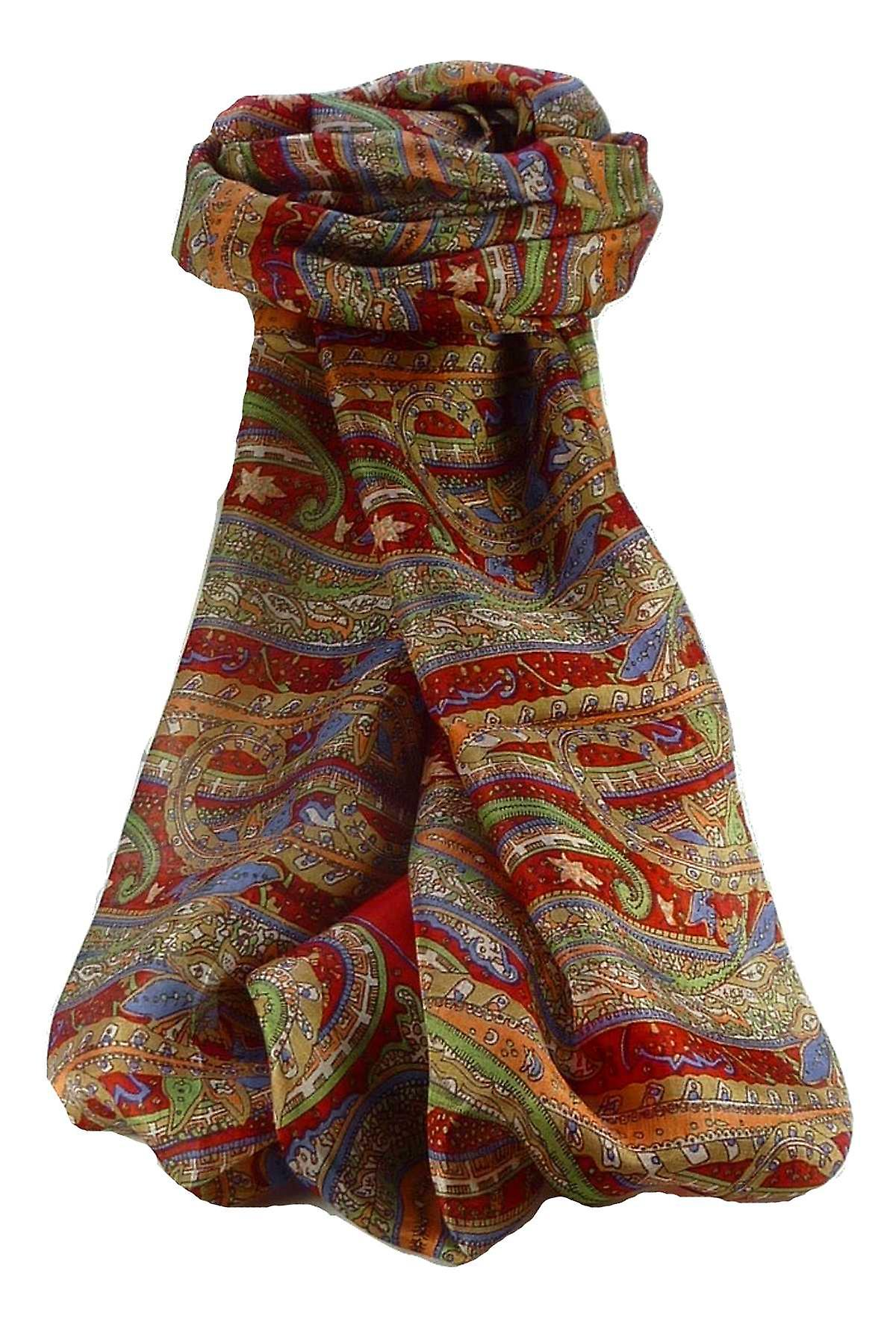 Mulberry Silk Traditional Long Scarf Gosthani Scarlet by Pashmina & Silk