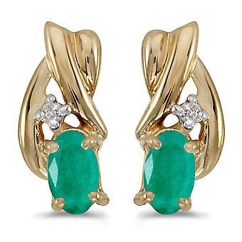 LXR 14k keltainen kulta soikea smaragdi ja timantti korvakorut 0.32ct