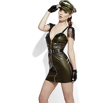 Fieber Rollenspiel Militär Chef Wet Look Kostüm, UK 12-14