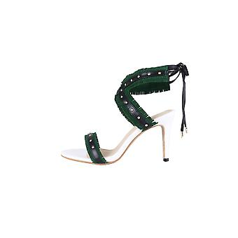 LMS Ankle Lace Heels WIth Green Fringe Straps