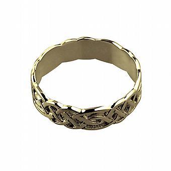 18ct Gold 6mm keltský svatební prsten velikost Z