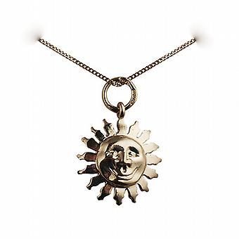 Oro 9ct faccia 15mm il sorriso di sole pendente con un cordolo catena 20 pollici